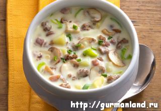 Тушеный картофель с мясом и грибами
