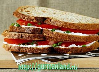 Бутерброд с сыром и помидорами
