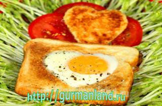 Жаренное яйцо в хлебе