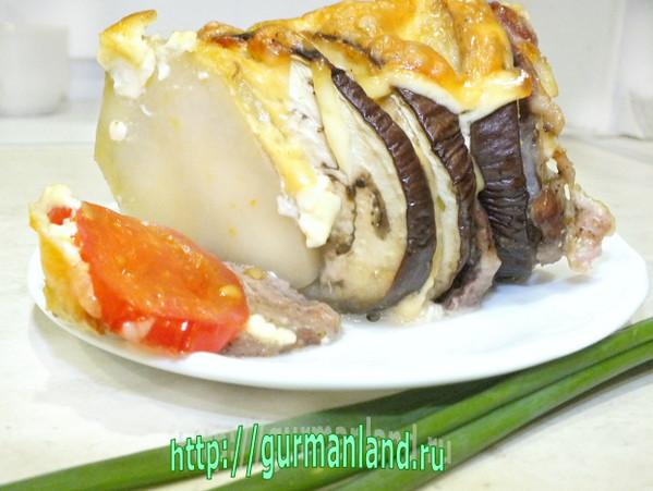 Запеченная гармошка из мяса и овощей